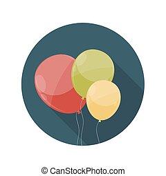 lejlighed, begreb, længe, vektor, konstruktion, illustration, balloner, ikon