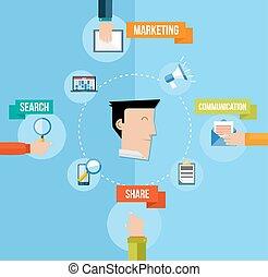lejlighed, begreb, markedsføring, illustration, medier, sociale