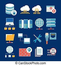 lejlighed, computer netværk, ikon, database