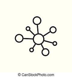 lejlighed, dna., netværk, hub, concept., molekyle, isoleret, illustration, tegn, firma, baggrund., sammenhænge, vektor, atom, hvid, style., ikon