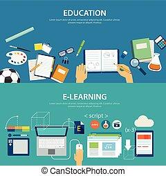 lejlighed, e-learning, undervisning, konstruktion, begreb