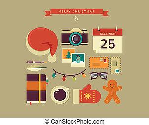 lejlighed, elementer, santa's, desktop, vektor, konstruktion...