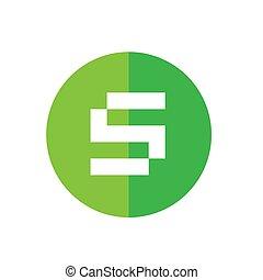lejlighed, farve, alfabet, illustration, s, vektor, grønne, digitale, logo, element, konstruktion, ikon