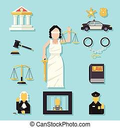 lejlighed, femida, sæt, themis, skalaer, retfærdighed, symbol, iconerne, illustration, vektor, sværd, lov