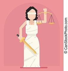lejlighed, femida, themis, skalaer, retfærdighed, symbol, illustration, vektor, sværd, lov, ikon