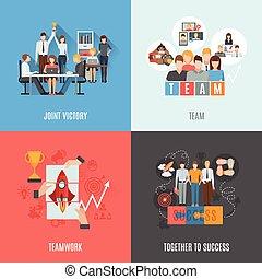 lejlighed, firkantet, iconerne, teamwork, 4, komposition