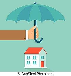 lejlighed, firmanavnet, begreb, hus, vektor, forsikring