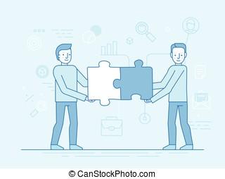 lejlighed, firmanavnet, begreb, lineære, -, illustration, vektor, teamwork, trendy