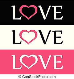 lejlighed, firmanavnet, elsk hjerte, tegn, logo