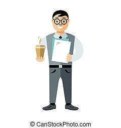 lejlighed, firmanavnet, illustration., firma, vektor, mand, farverig, cartoon, coffee.