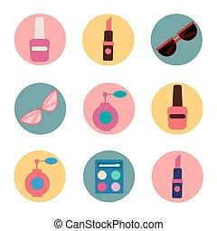 lejlighed, firmanavnet, mode, pli, iconerne, beauty., set.,...
