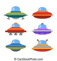 lejlighed, firmanavnet, ufo, set., spaceship, vektor, cartoon, ikon