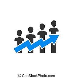 lejlighed, folk branche, karriere, concept., isoleret, illustration, baggrund., vektor, pil, optræden, hvid, style., ikon