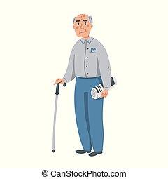 lejlighed, gå, gamle, illustration., karakter, gammelagtig, baggrund., vektor, pind, avis, hvid, mand, home., senior, man., sygepleje
