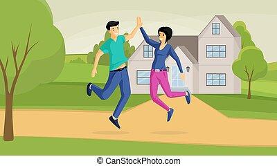 lejlighed, girlfriend, køb, udendørs, boyfriend, emotions., hus, glade, positiv, springe, cartoon, joyfulness, illustration., land, gode, par, smil, vektor, aftalen, bogstaverne, familie