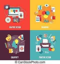 lejlighed, grafik formgiv, iconerne
