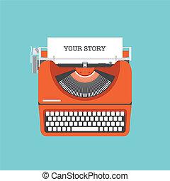 lejlighed, historie, dele, din, illustration
