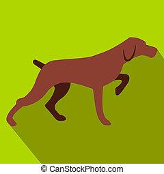 lejlighed, hund, jagt, ikon