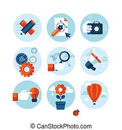 lejlighed, iconerne, konstruktion, markedsføring
