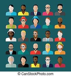 lejlighed, iconerne, mænd, tilsynekomst, samling, icons., folk