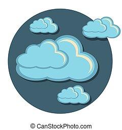 lejlighed, ikon, cirkel, skyer
