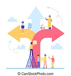 lejlighed, illustration., folk, scrum, pile, vektor, planke, hold, pligtarbejde