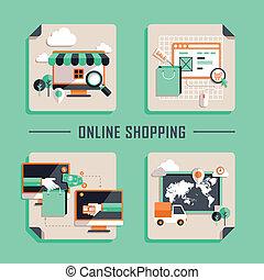 lejlighed, indkøb, iconerne, vektor, konstruktion, online