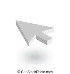 lejlighed, isometric, kursor, pil, vektor, icon., falde i hak, 3