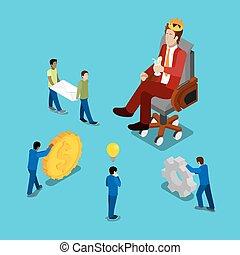 lejlighed, isometric, process., firma, iagttag, folk., arbejde, bekranse, illustration, vektor, forretningsmand, 3