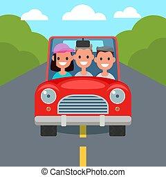lejlighed, kørende, automobilen, sharing., characters., ...