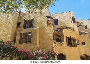 lejlighed komplekse, ind, gamle, jerusalem