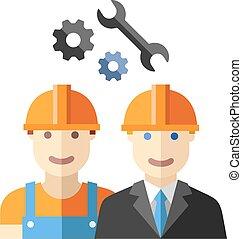lejlighed, konstruktion sæt, arbejder, avatar