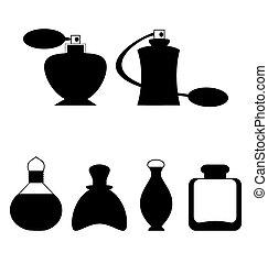 lejlighed, kvinde, isoleret, parfume, sæt, hvid