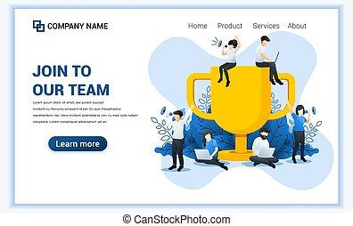 lejlighed, ledsagere, vektor, stor, succesrige, trofæ, members., concept., væv, banner, sammenvokse, illustration, work., hold, firma, kigge, nye, folk, vore