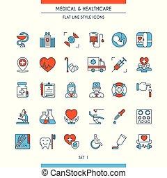 lejlighed linje, konstruktion, medicinske ikoner, 1