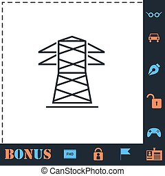 lejlighed linje, magt, ikon