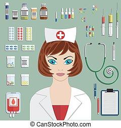 lejlighed, medicinsk, sæt, objects.