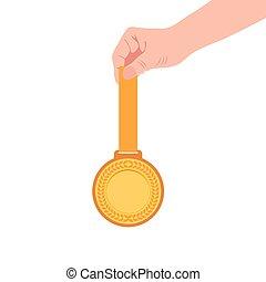 lejlighed, mester, guld, hånd, medalje, ikon