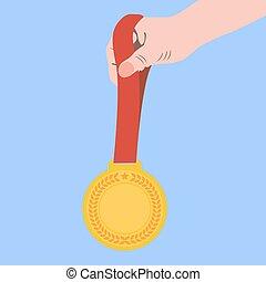 lejlighed, mester, guld, illustration, hånd., medalje, ikon