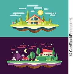 lejlighed, moderne, begrebsmæssig, konstruktion, bygge, illustrationer, landskab
