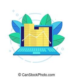 lejlighed, moderne, graph, laptop, mønter, vector., beklæde