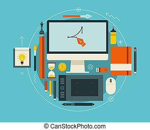 lejlighed, moderne, illustration, kreative, vektor, konstruktion, workspace