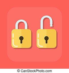lejlighed, padlock., farvet, image, isoleret, illustration, vektor, baggrund, åbn, aflukket
