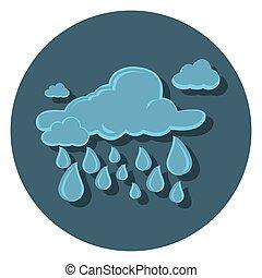 lejlighed, regn, ikon, cirkel