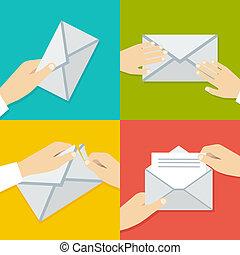 lejlighed, sæt, envelope., hånd, vektor, holde, illustrationer, style.