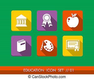 lejlighed, sæt, farverig, iconerne, samling, undervisning