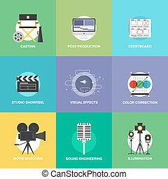 lejlighed, sæt, iconerne, produktion, jagt, film