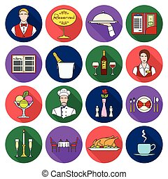 lejlighed, sæt, iconerne, stor, symbol, restaurant, samling, vektor, illustration, style., aktie