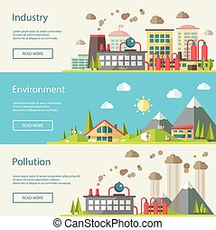 lejlighed, sæt, moderne, begrebsmæssig, økologiske, konstruktion, illustrationer