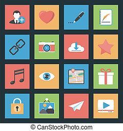 lejlighed, sæt, væv, medier, iconerne, socia